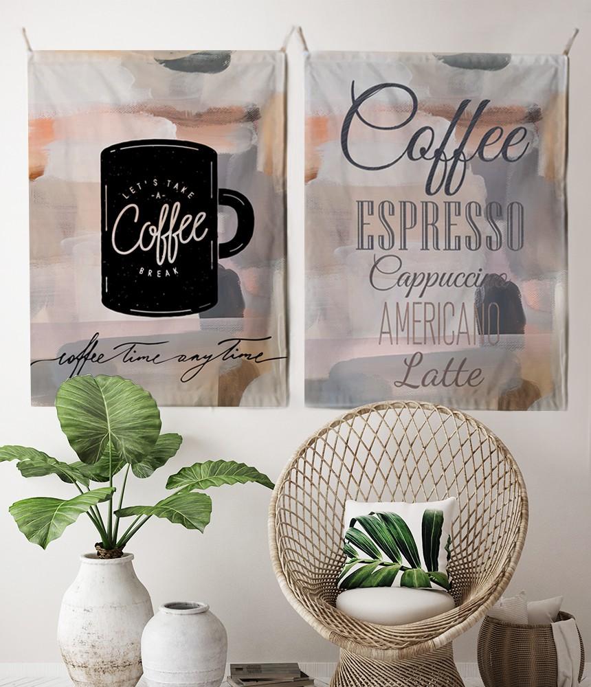 패브릭 포스터 태피스트리 가리개 커튼 2장 세트 커피메뉴-커피타임 대형 - 림드, 35,000원, 홈갤러리, 패브릭포스터